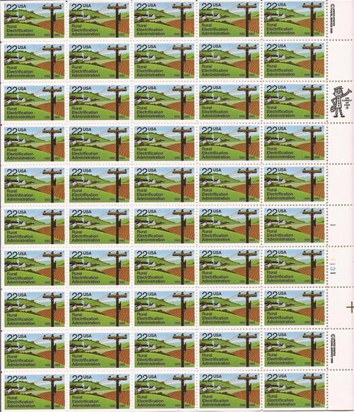 US Stamp - 1985 Rural Electrification Administration - 50 Stamp Sheet #2144