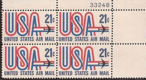 US Stamp - 1971 21c USA & Jet - Plate Block of 4 Stamps - Scott #C81