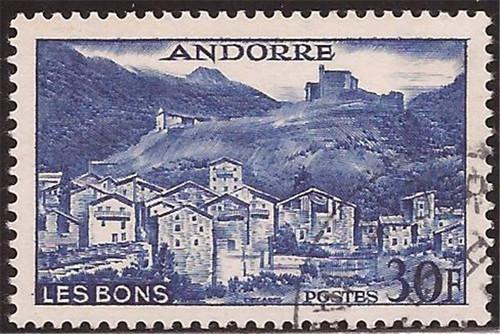 Andorra (Fr) - 1957 30f Les Bons Village Stamp - VF Used - Scott #137