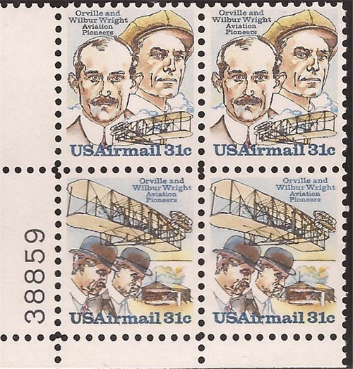 US Stamp - 1978 Wright Brothers - Plate Block of 4 Stamps #C91-2