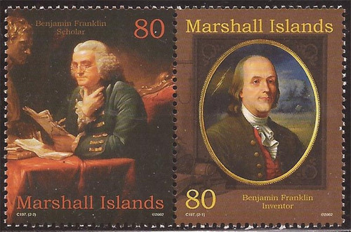 Marshall Islands - 2002 Benjamin Franklin - Stamp Pair - Scott #804