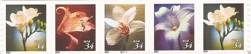 US Stamp - 2001 Flowers - Plate Strip of 5 Stamps - Scott #3481a