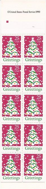 US Stamp - 1990 Christmas Tree - Booklet of 20 Stamps - Scott #BK181