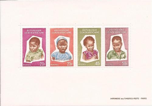 Central Africa - 1964 Children - 4 Stamp Sheet - Scott #38a