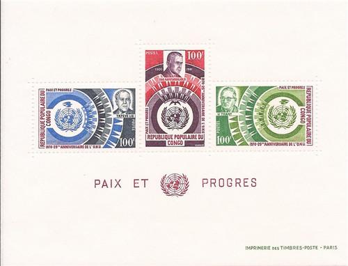 Congo PR - 1970 United Nations - 3 Stamp Sheet - Scott #221a