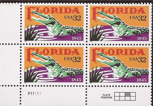 US Stamp - 1995 Florida Statehood - Plate Block of 4 Stamps #2950
