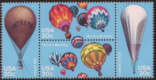 US Stamp - 1983 Hot Air Balloons - Block of 4 Stamps - Scott #2032-5