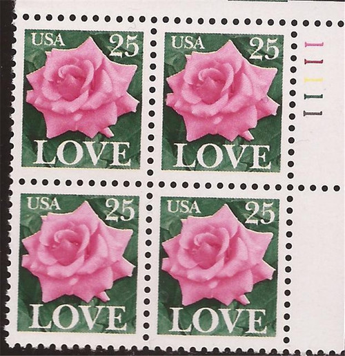US Stamp - 1988 Love Rose - Plate Block of 4 Stamps - Scott #2378