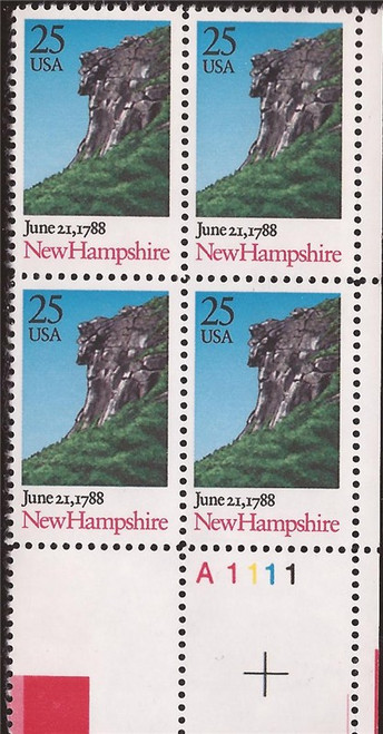 US Stamp - 1988 New Hampshire - Plate Block of 4 Stamps #2344