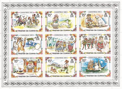 Tristan da Cunha - 1980 Nursery Rhymes - 9 Stamp Sheet - Scott #282