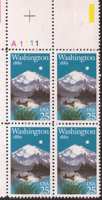 US Stamp - 1989 Washington Statehood - Plate Block of 4 Stamps #2404
