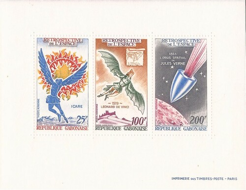 Gabon - 1970 Space Retrospective - 3 Stamp Sheet - Scott #C92-4