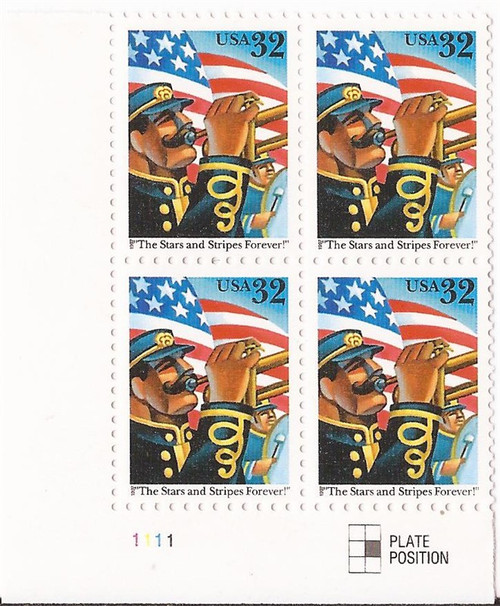 US Stamp 1997 Stars & Stripes Forever - Plate Block of 4 Stamps #3153