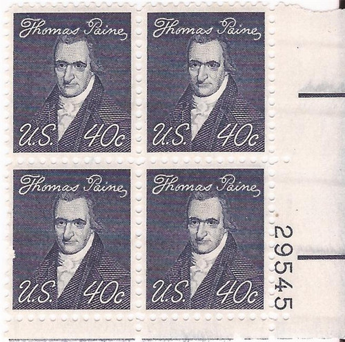 US Stamp 1973 40c Thomas Paine - Plate Block of 4 Stamps Tagged #1292a