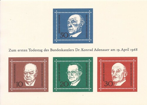 Germany 1968 Adenauer & Churchill - 4 Stamp Sheet - Scott #982