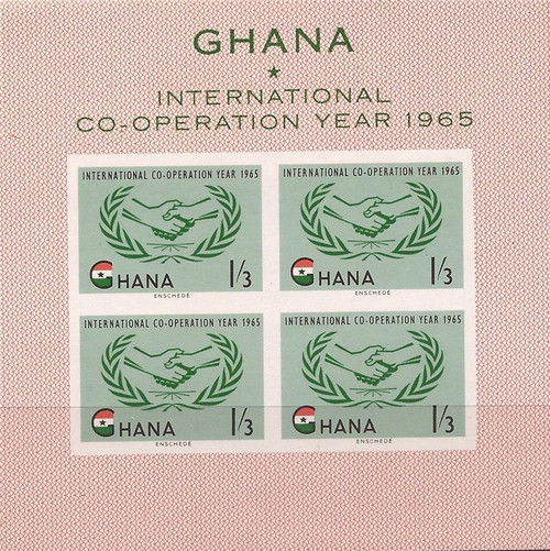 Ghana 1965 Int'l Cooperation Year - 4 Stamp Sheet - Scott #203a