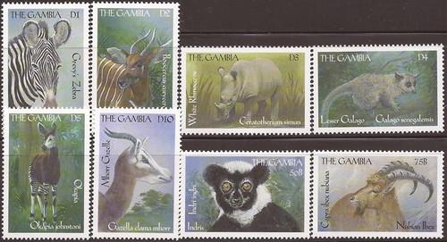 Gambia 2000 African Wildlife - 8 Stamp Set - Scott #2184-91