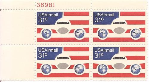 US Stamp 1976 31c Plane Flag Globe Plate Block of 4 Stamps Scott #C90