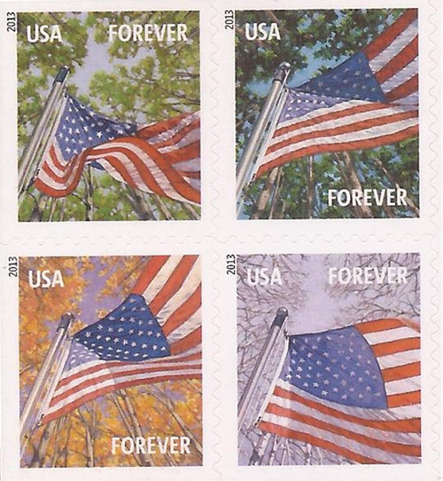 US Stamp 2013 Flags by Season - Block of 4 Forever Stamps #4781a