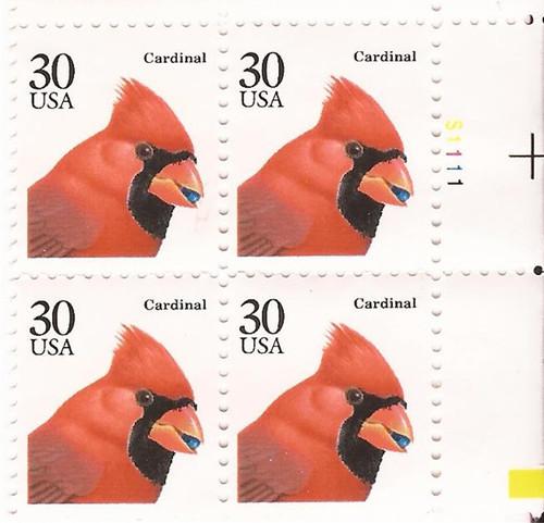 US Stamp - 1991 30c Cardinal - Plate Block of 4 Stamps - Scott #2480