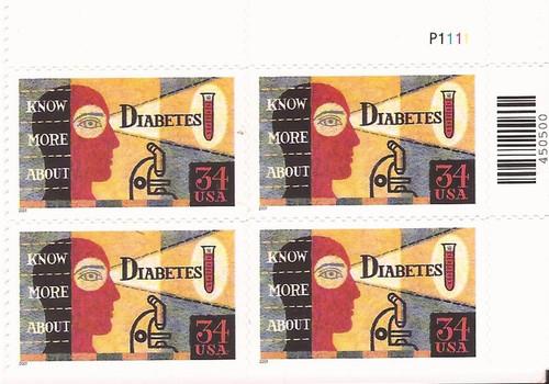 US Stamp - 2001 Diabetes Awareness - Plate Block of 4 Stamps #3503