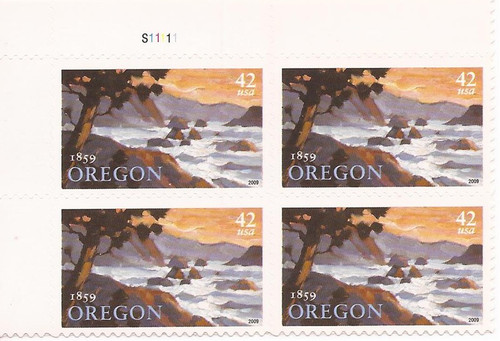 US Stamp - 2009 Oregon Statehood - Plate Block of 4 Stamps #4376