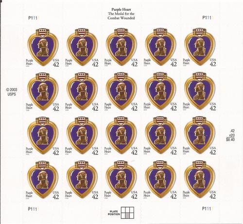 US Stamp - 2008 Purple Heart - 20 Stamp Sheet -   Scott #4264