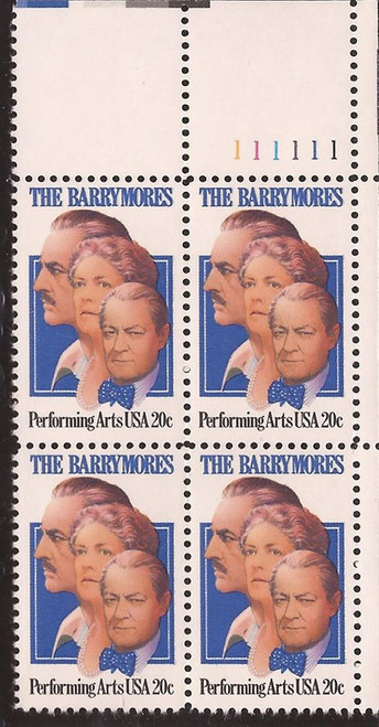 US Stamp 1982 The Barrymores Plate Block of 4 Stamps Scott #2012