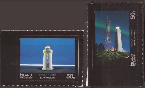 Iceland - 2011 Lighthouses - 2 Stamp Set - Scott #1228-9