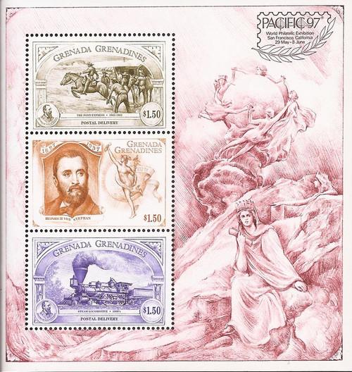 Grenada Grenadines - 1997 Heinrich von Stephan - 3 Stamp Sheet #1923