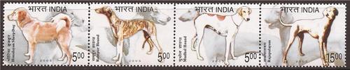 India - 2005 Dog Breeds - 4 Stamp Strip - Scott #2096