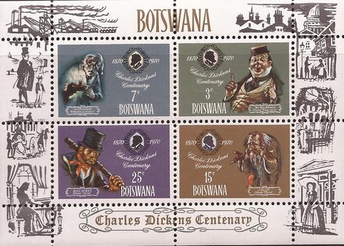 Botswana - 1970 Writer Charles Dickens - 4 Stamp Sheet - Scott #65a