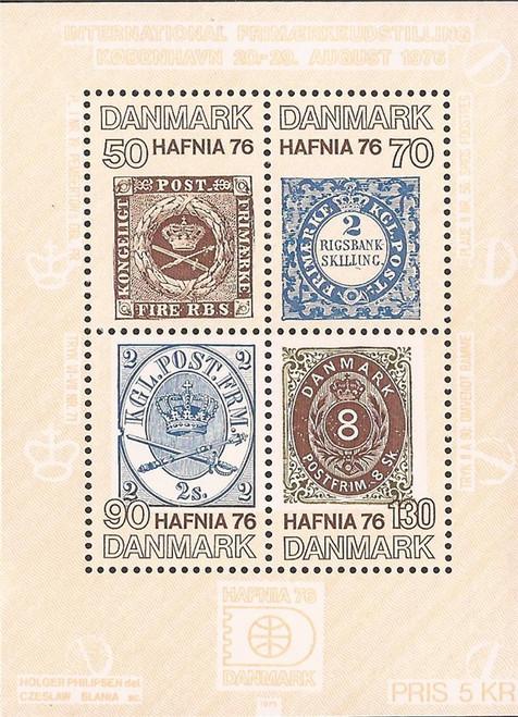 Denmark - HAFNIA Stamp Exhibition - 4 Stamp Sheet - Scott #585