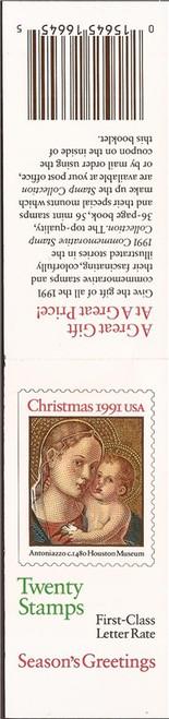 US Stamp 1991 Christmas Madonna & Child 20 Stamp Booklet #BK193