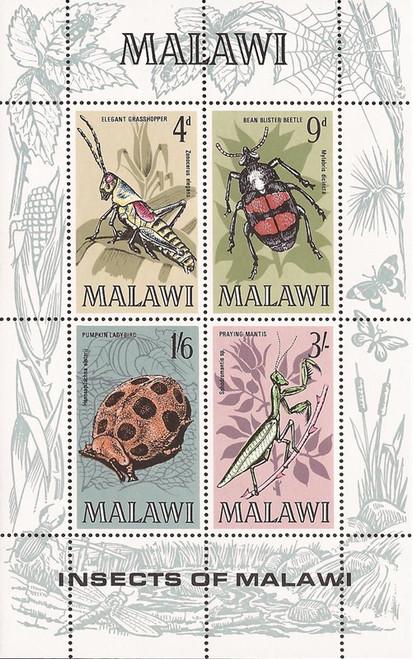 Malawi - 1970 Bean Blister Beetle - 4 Stamp Sheet - Scott #130a