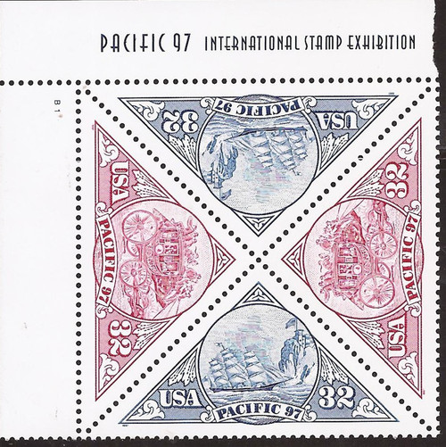 US Stamp - 1997 Pacific 97 Triangles - Plate Block of 4 Stamps #3130-1