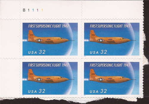 US Stamp - 1997 Supersonic Flight - Plate Block of 4 Stamps #3173