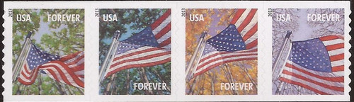 US Stamp - 2013 Flags For All Seasons - 4 Stamp Strip - Scott #4770-3