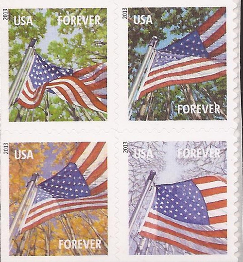 US Stamp - 2013 Flags For All Seasons - 4 Stamp Block - Scott #4782-5