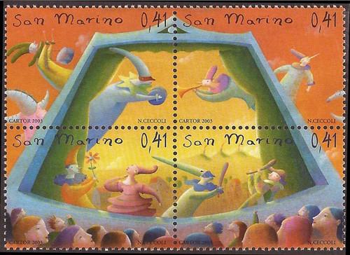 San Marino - 2003 Puppetry - 4 Stamp Block - Scott #1591