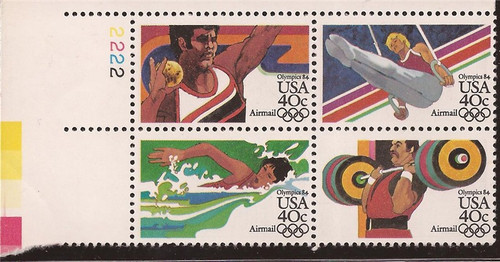 US Stamp - 1983 40c Olympics Airmail - Plate Block of 4 Stamps #C105-8