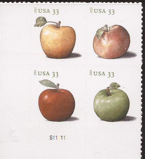 US Stamp - 2013 Apples - 4 Stamp Plate Block - Scott #4730a