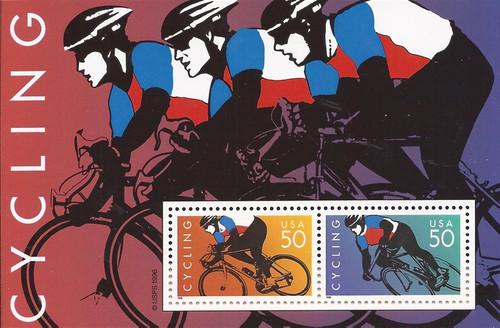 US Stamp - 1996 Cycling - 2 Stamp Souvenir Sheet - Scott #3119