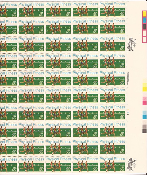 US Stamp - 1983 Physical Fitness - 50 Stamp Sheet - Scott #2043