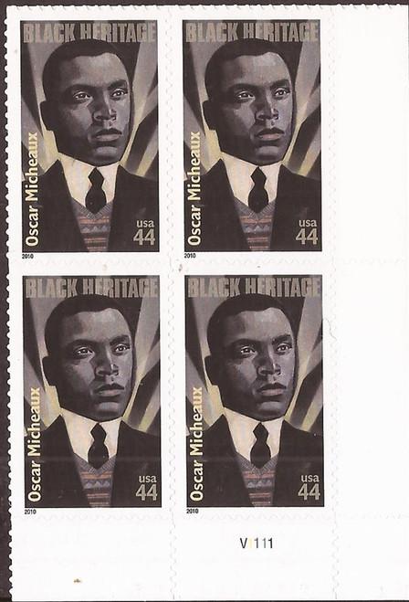 US Stamp - 2010 Black Heritage Oscar Micheaux - 4 Stamp Pl Block #4464