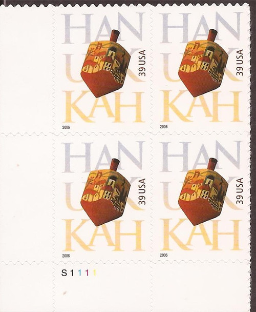 US Stamp - 2006 Hanukkah - 4 Stamp Plate Block - Scott #4118