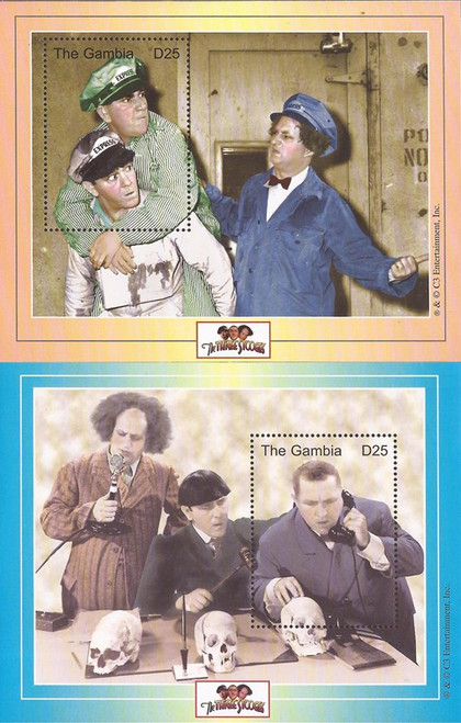 Gambia - 2001 The Three Stooges - Set of 2 Souvenir Sheets #2447-8