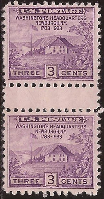 US Stamp 1935 Peace of 1783 Center Blk w/Crossed Gutters & Dashes #752