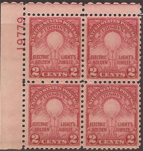 US Stamp - 1929 Electric Light - Plate Block of 4 Stamps - Scott #655