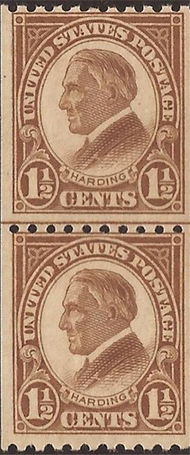 US Stamp - 1925 1 ½c Harding - Coil Line Pair MNH - Scott #605